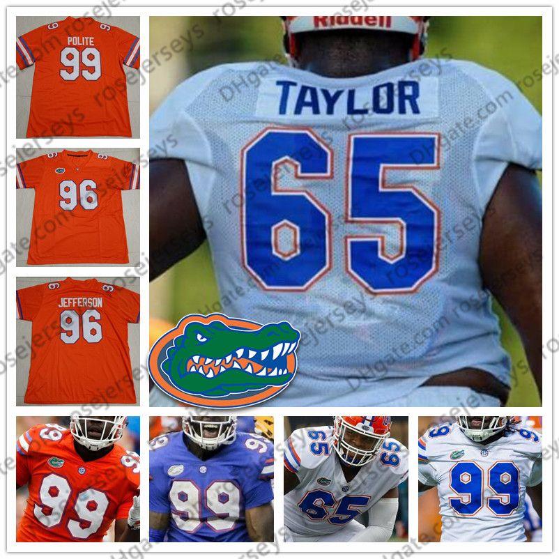 finest selection ce8ee 0abdf NCAA Florida Gators #65 Jeawon Taylor 73 Martez Ivey 81 Antonio Callaway 96  Cece Jefferson 99 Jachai Polite Blue Orange White Retired Jersey