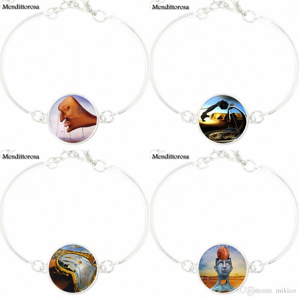 For Women Party Salvador Dali Abstract Art Picture Bracelet Bangle Women Statement Glass Cabochon Jewelry Gift