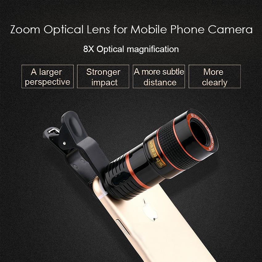 wholesale Clip 8X Zoom Mobile Phone Telescope Lens Telephoto External Smartphone Camera Lens For IPhone For Sumsung For Huawei Xiaomi