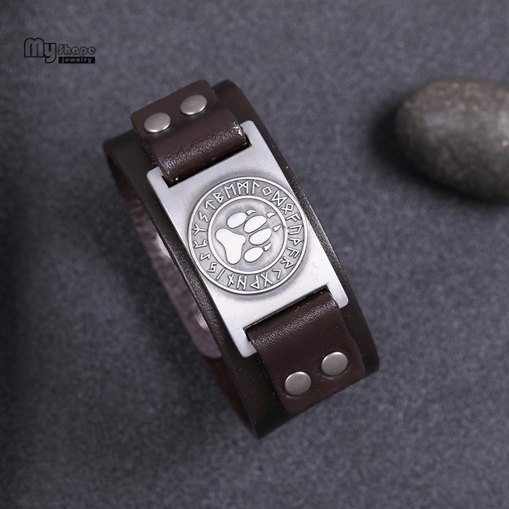 My Shape Viking Wolf Claws Браслет Viking Браслет Nordic Runes Bear Paw Браслет Мужчины Браслеты из натуральной кожи Ремешок Браслеты Браслеты