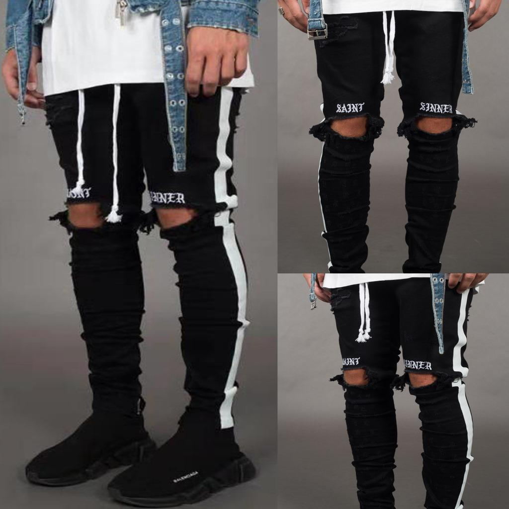 New Men Jean Street Black Holes Designer Stripes Jeans Hip Hop Skateboard Pencil Pants Size S-3XL