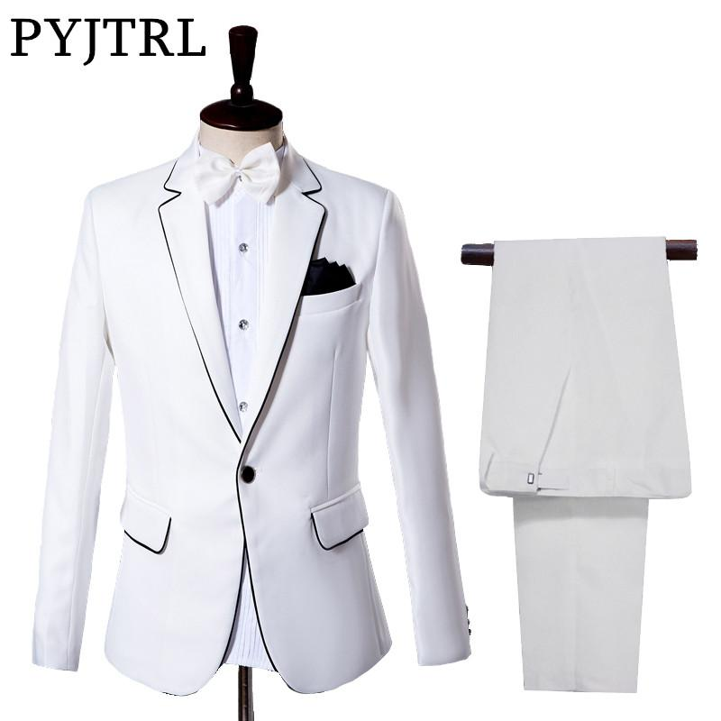 4c21f4a26c7 Jacket + Pants Men s Suits Groom Tuxedo Dress White Wedding ...
