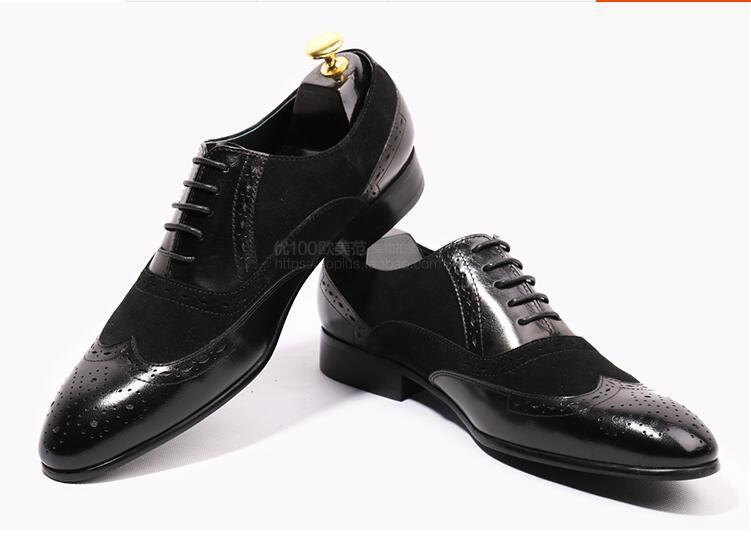 patch leather men wedding dress oxfords shoes lace up high quality mens business formal shoes spring single driving oxfords