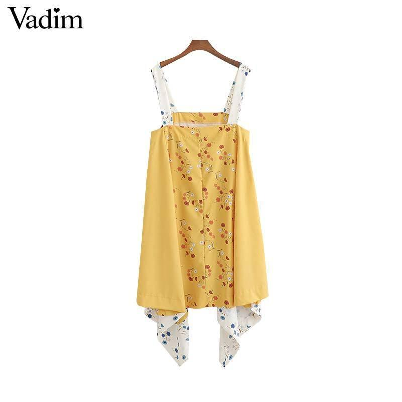Vadim women sweet floral print mini dress patchwork spaghetti strap irregular casual dresses yellow cute vestidos QC260 T519053003