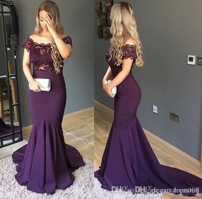Sexy Cheap Purple Prom Dresses Long Off Shoulder With Sleeves Mermaid Satin Lace See Through Designer Plus size Formal Evening Gonws