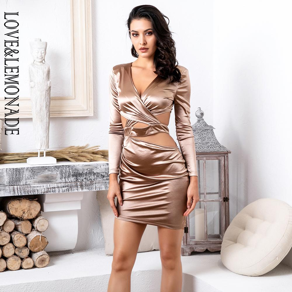 777758d11a Love Lemonade Sexy Champagne Deep V Neck Cut Out Open Back Elastic Fabric  Bodycon Long Sleeved Dress LM81676 Dresses Women Cocktail Party Dresses  From ...