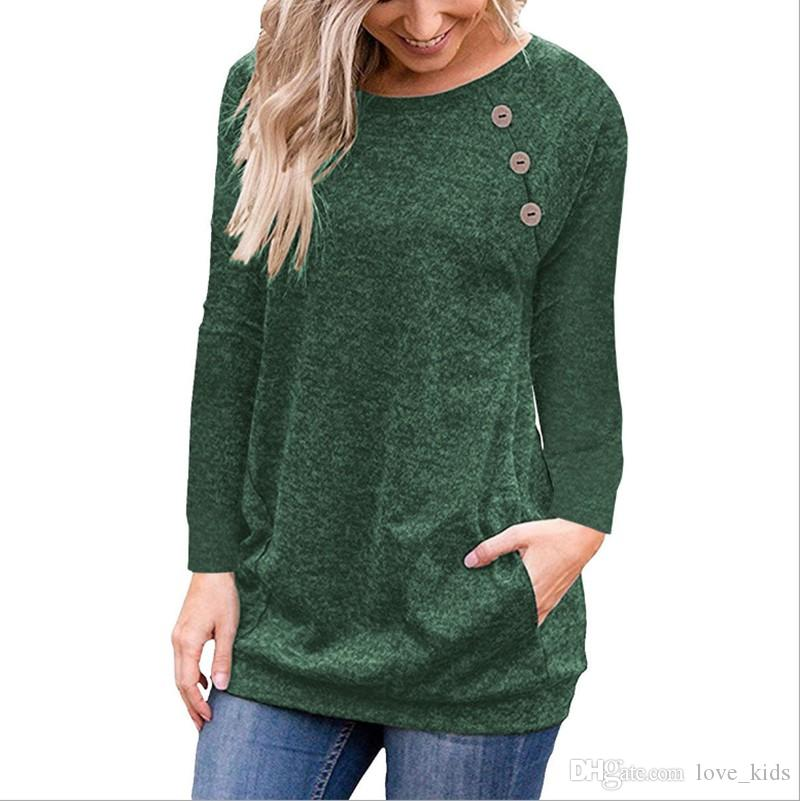 Autumn ladies long sleeve tops hot sale round neck Button pocket T-shirt women fashion green tops