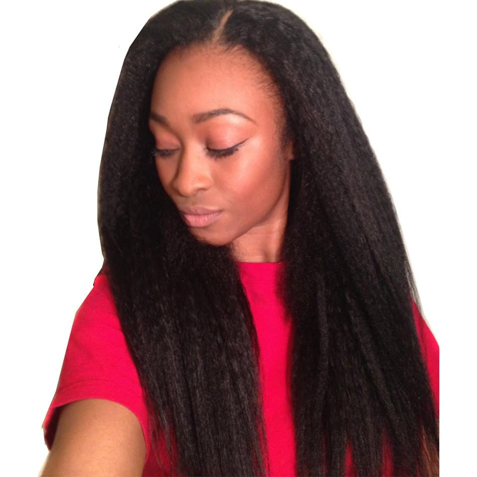Full Lace Human Hair Wig Kinky Straight Wigs Peruvian Virgin Hair Lace Front Wigs Pre Plucked with Baby Hair