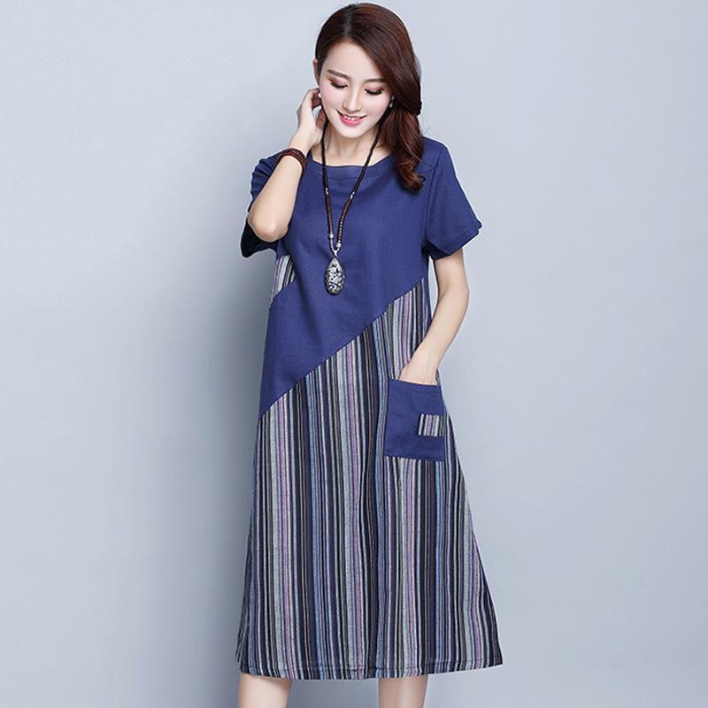 69f063d1 Women Dress Summer Ladies Cotton Linen Stripe Patchwork Midi Dress Short  Sleeve O Neck Vintage Mid Calf Vestido Pocket Lady Dress Evening Dresses  Plus Size ...