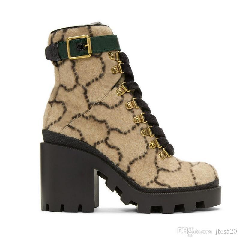 2019 autunno inverno donne di lusso Martin stivali Designer Shoes Lettera pelle scamosciata con tacco stivali di metallo modo delle signore stivaletti grandi dimensioni 35-42
