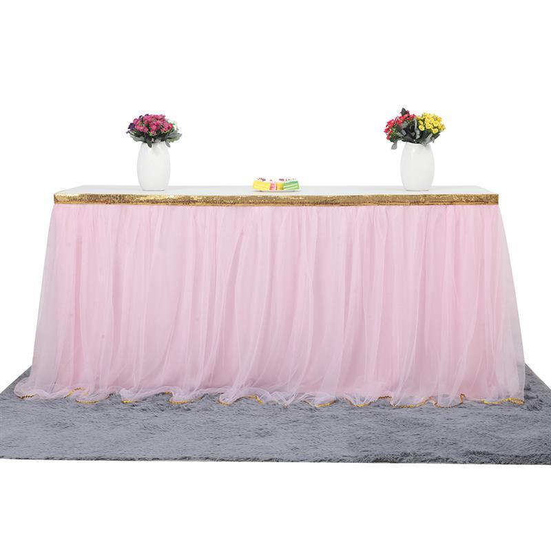 4a9049ba9 Falda de mesa de tul mantel para la boda decoración del hogar diy vajilla  faldas boda fiesta de cumpleaños textil para el hogar