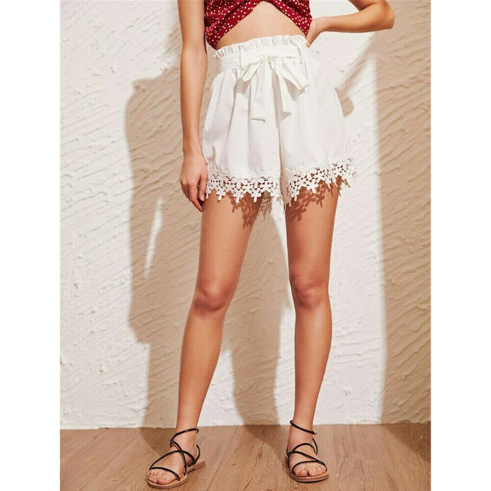 Hot Women Sweet Lace Floral Bandage Shorts Cute Casual Beach Tassel Mini Summer Clothes