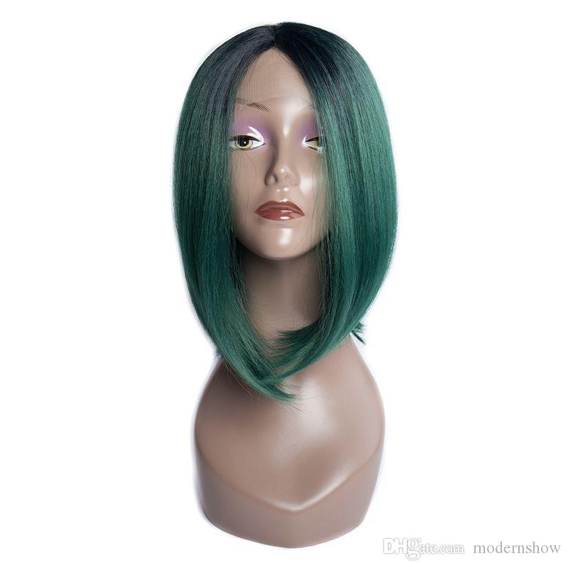 Modern Show Hair Middle Part Short Straight Bob Capless Wig Green Synthetic Hair Lace Wigs For Women Cheap Synthetic Lace Wigs For Sale