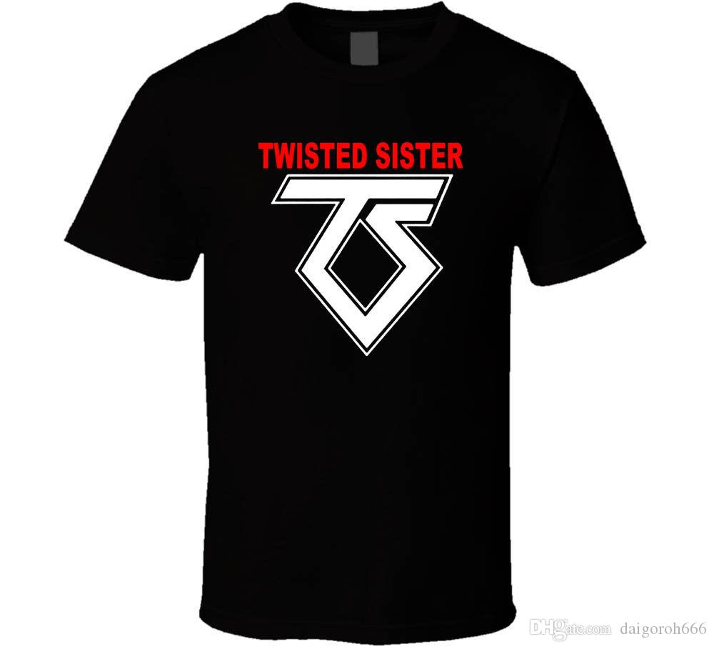 Twisted Sister Old School Rock Band Shirt Black White Tshirt Mens