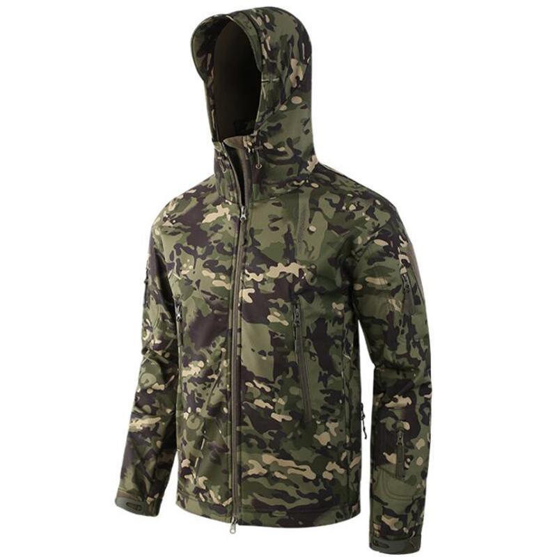 Dropshipping Taktische Jacken Männer Camouflage Shark Haut Softshell Wasserdichte Kapuze Militärjacke Camo Fleece Regenmantel Mäntel