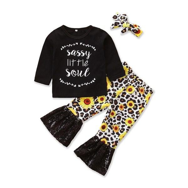 Toddler Infant Baby Girls Fly Sleeve T Top Shirt Flared Sunflower Pants Outfits