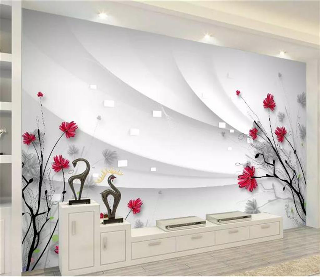 Custom Any Size 3d Wallpaper Beautiful HD Hand-painted Line Drawing Flowers Modern and Simple Home Decor Living Room Wall Covering