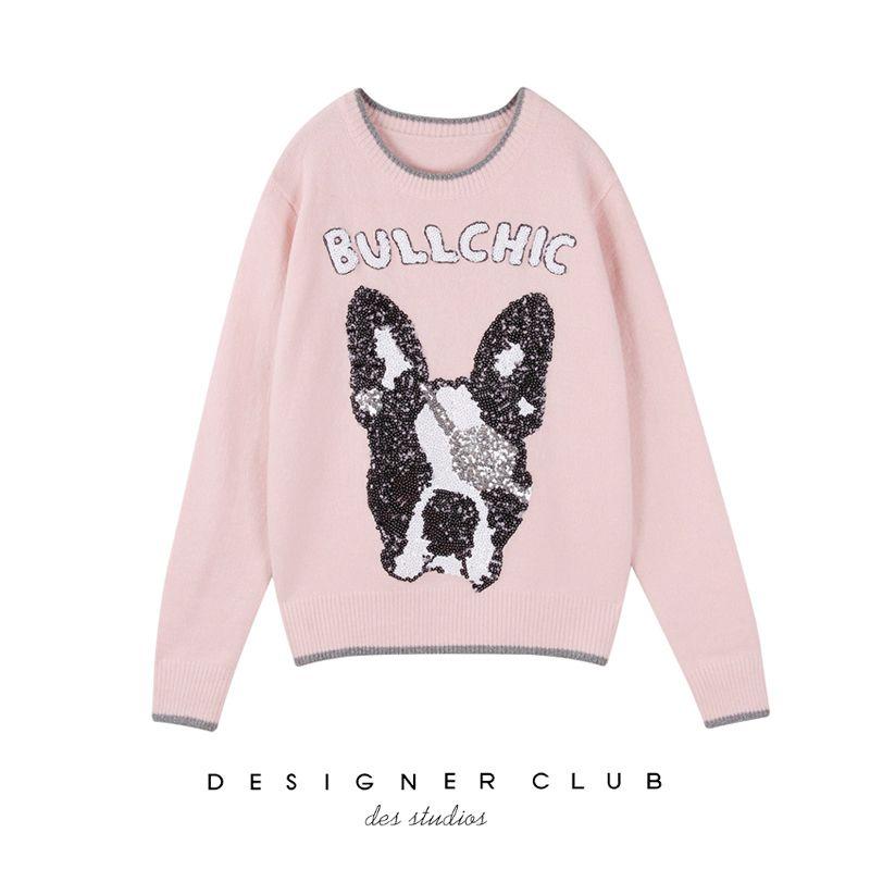Shirts Einfache T Pullover Blusen Jacke Hund Pailletten