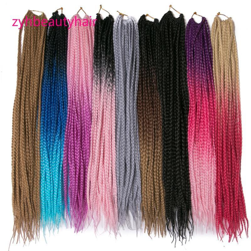 Hot! 24 Inch 3 Packs/Lot 100G/Pack 3 Tone Dark Roots Ombre 3S Box Braids Senegalese Twist Ombre Crochet Hair Extensions