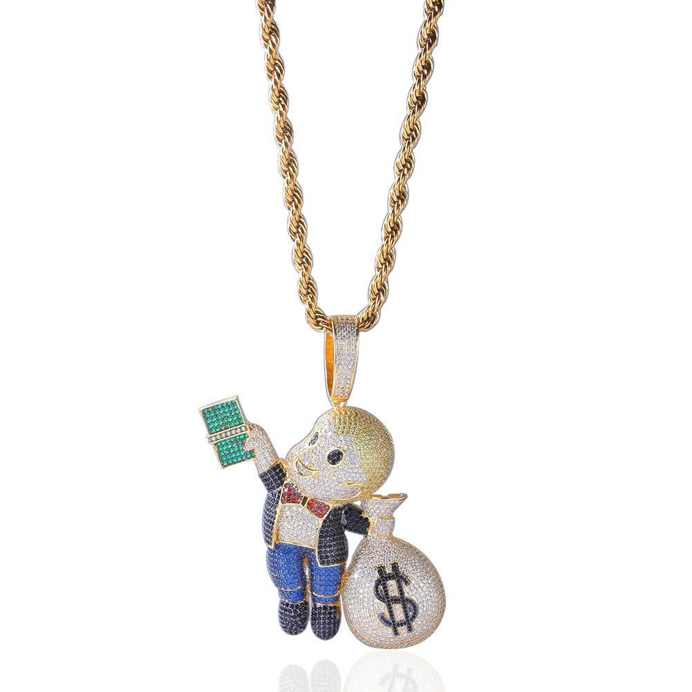 24K Gold Plated Hip Hop Jewelry For Men Money Bag Boy Charms Pendant ... 33028354bd1a