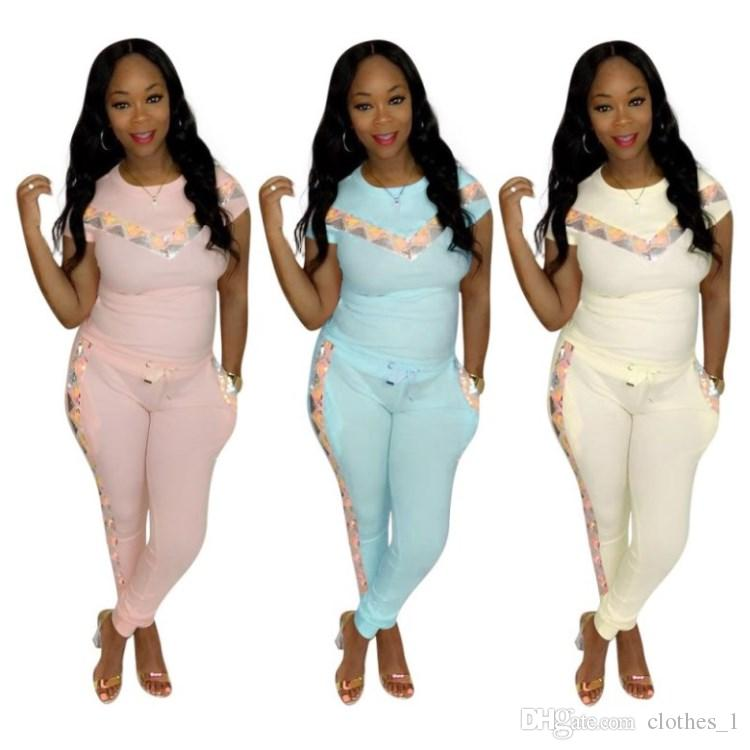 women 2 piece set tracksuit shirt pants outfits short sleeve shirt trousers sweatsuit pullover tights sportswear sports suit hot klw1111