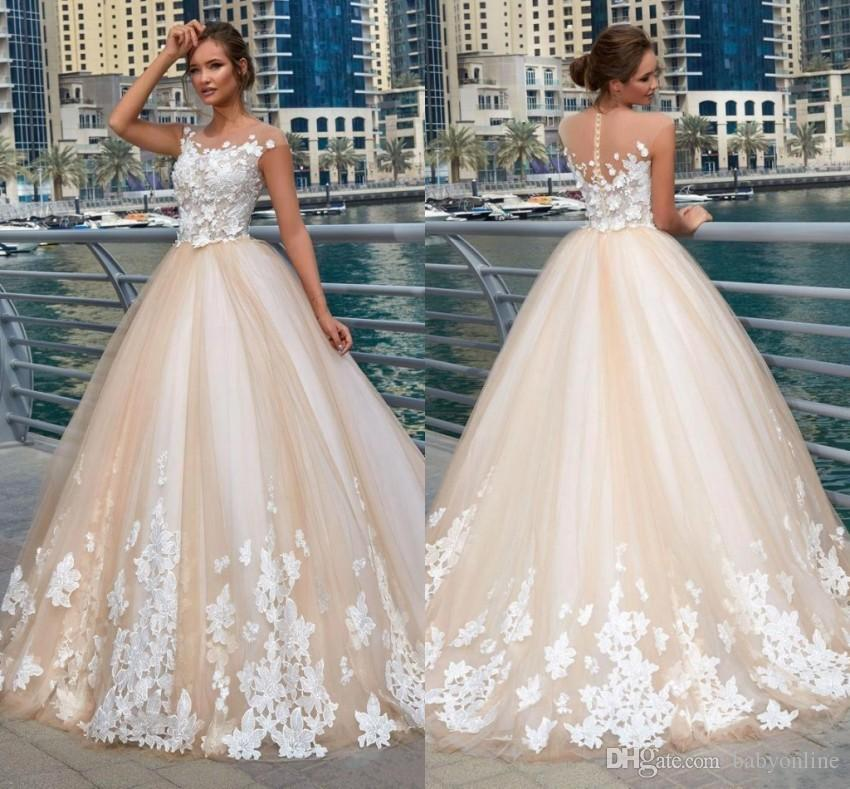 Discount Vintage Champagne Wedding Dresses Sheer Neck 3D Lace Applique  Illusion Cap Sleeves Button Back Sweep Train Bridal Gowns BC0478 Wedding  Outfits A ... 333a4b83e299