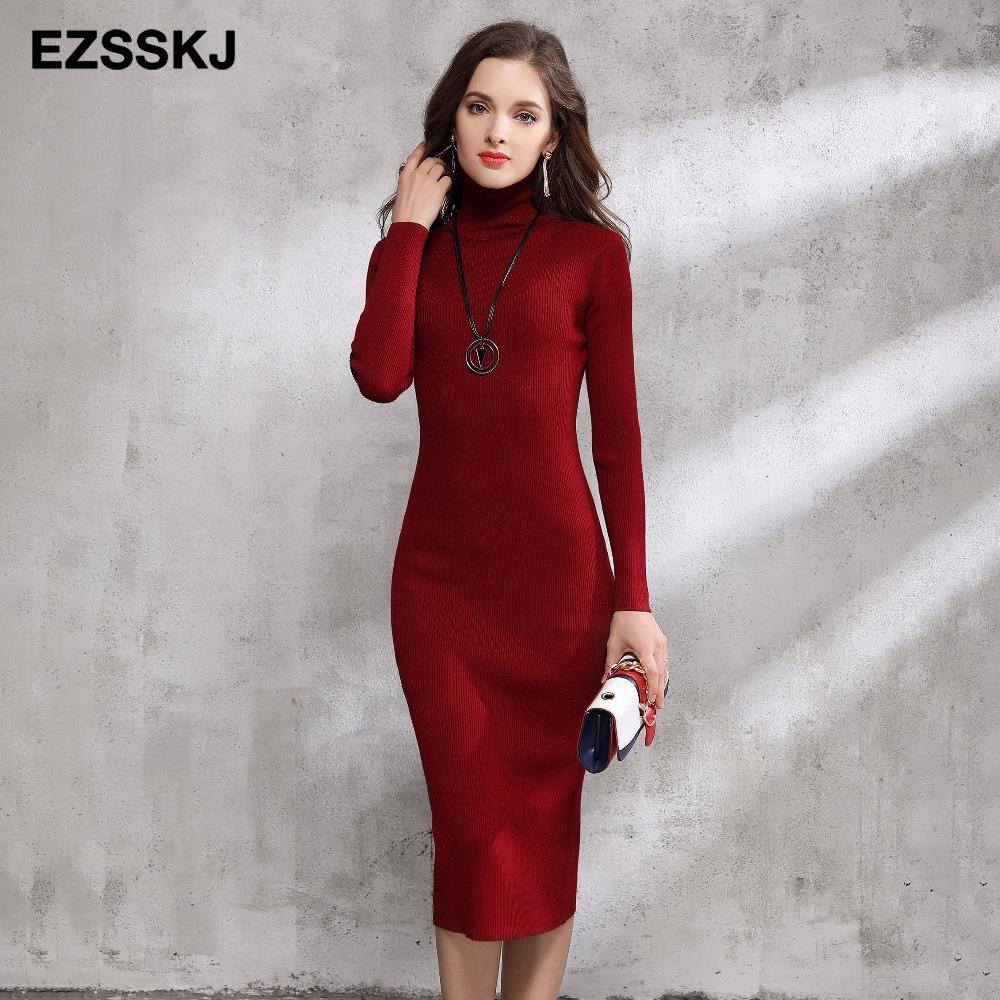 7bfa9041d00c 2018 Autumn Winter Women Sweater Dress Turtleneck Knitted Sexy Bodycon long  sleeve office Long dress Warm maxi dress red basic