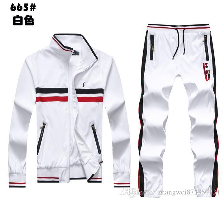 Wholesale - Spring Sportswear men&039;s jacket and pants suit fashion tracksuits men sports suits 2018 clothing set hoodies