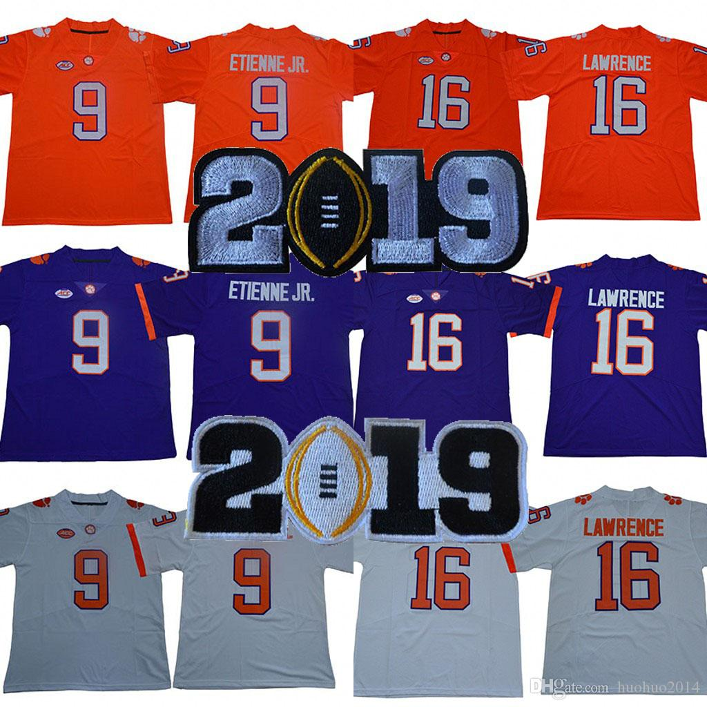 Clemson Tigers Jerseys 2019 Championships 9 Travis Etienne Jr Jr 16 Trevor Lawrence College Football Jerseys White Orange Purple