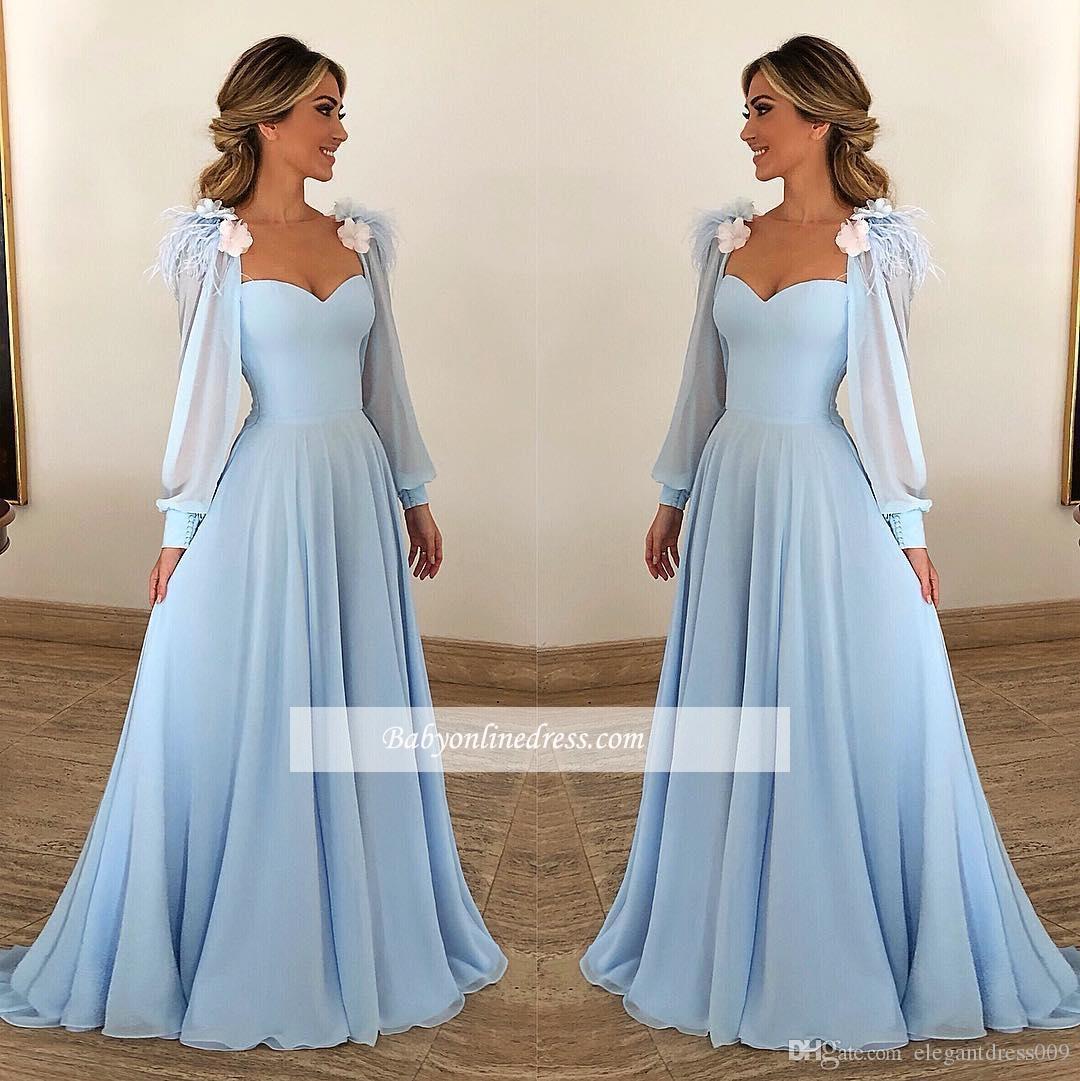 Acheter 2018 Arabe Robes De Bal Bleu Ciel Hors Épaule Cap Manches Dentelle Blanche Appliques Fleurs Dos Nu Longue Robe De Soirée Porter Qparty Robes