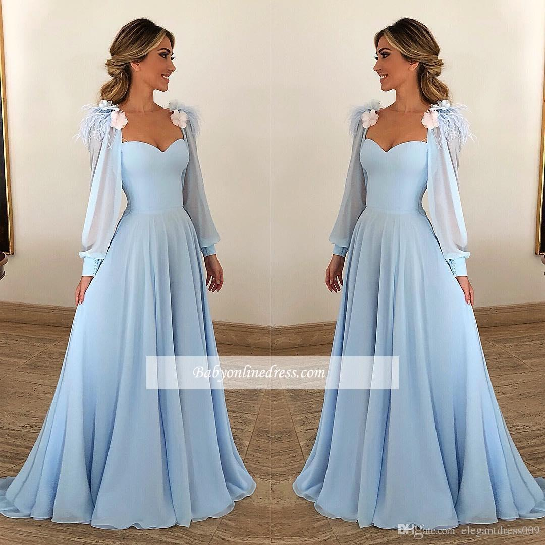 401c09383a30 Light Sky Blue 2019 New Designer Chiffon Prom Dresses Sweetheart Long  Sleeves 3D Flowers Formal Dresses Evening Gowns Vestido De Novia Mermaid  Prom Dress ...