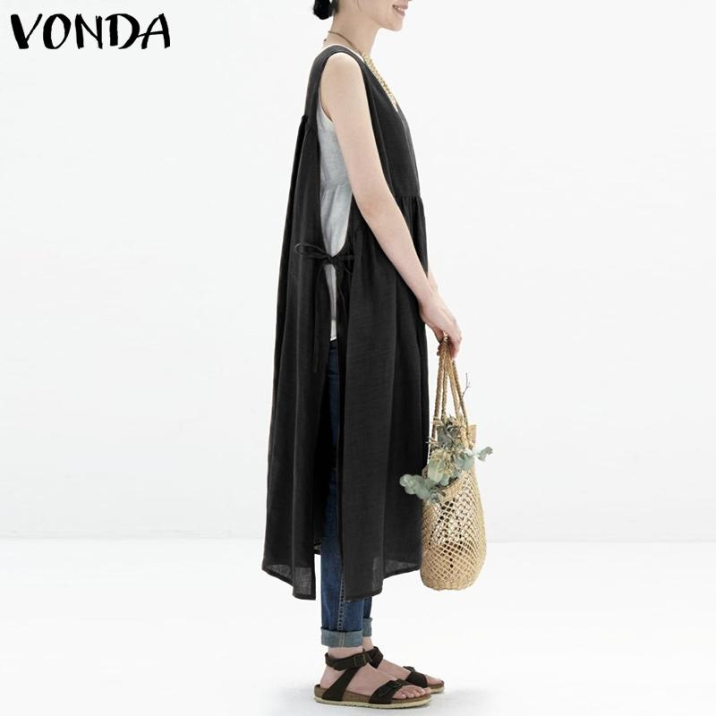 d100d185fc6a7 VONDA Women Sexy Mid-calf Dress 2019 Summer Vintage Sleeveless O Neck Split  Dresses Female Casual Loose Solid Vestidos Plus Size