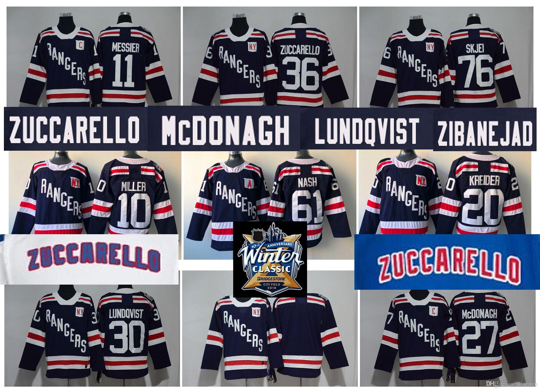 new concept 01058 db2af 2018 Winter Classic New York Rangers Jersey Hockey 36 Mats Zuccarello 27  Ryan McDonagh 30 Henrik Lundqvist Kevin Shattenkirk Brady Skjei