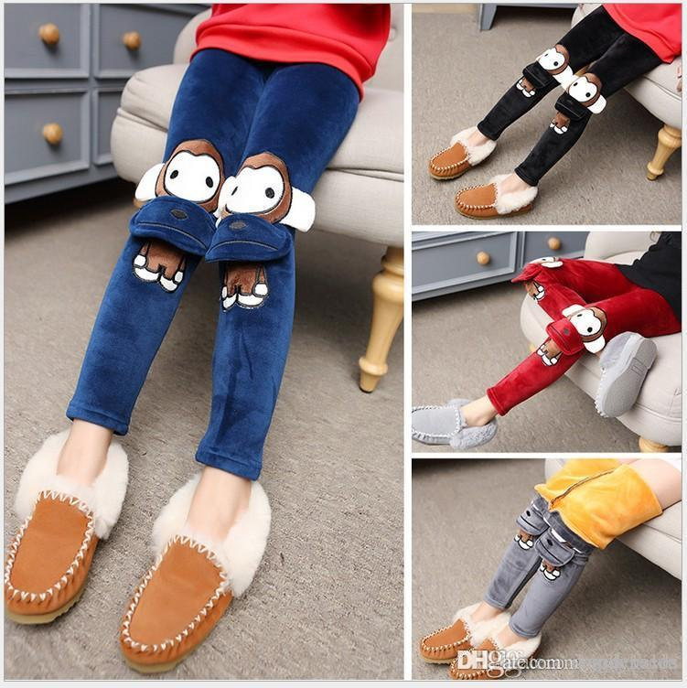 2018 New Arrival Autumn Winter Big Girls Wool Leggings Pants Children Thicken Warm Cartoon Tights Trousers Size 110-160cm 6pcs/lot