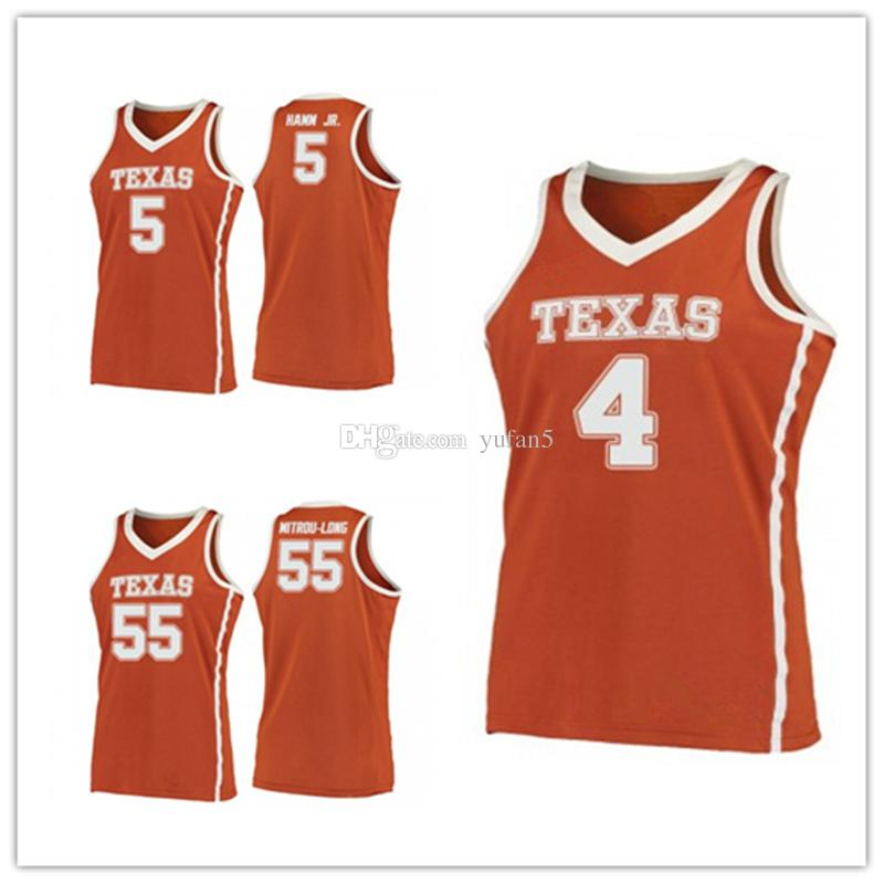 reputable site a5bd5 5f0f4 Texas Longhorns College #4 Mohamed Mo Bamba #5 Royce Hamm Jr. #55 Elijah  Mitrou-Long Basketball Jersey Mens Stitched Custom Number name