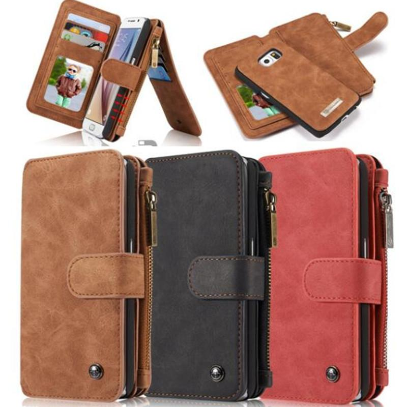 For iPhone 5 5S iPhone 6 6s Plus 7 8 Plus CaseMe Zipper Wallet Leather Phone Case For iPhone XS Max XS X Vintage Mobile Bag Case