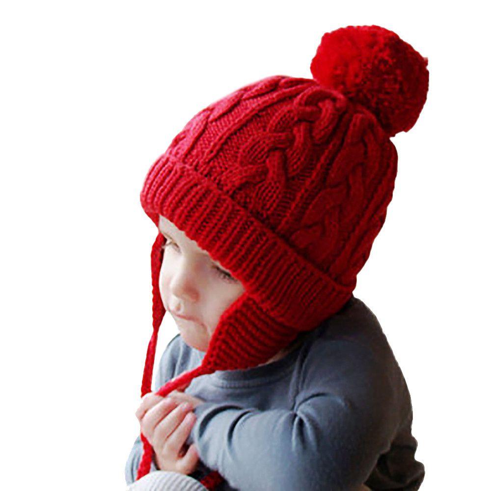 ea91d0e5745e6 2019 Baby Winter Hat Baby Bonnet Toddler Baby Girls Boys Knitting Pompon  Headgear Warm Ear Guard Kids Hat Cap Drop Shipping From Kareem11