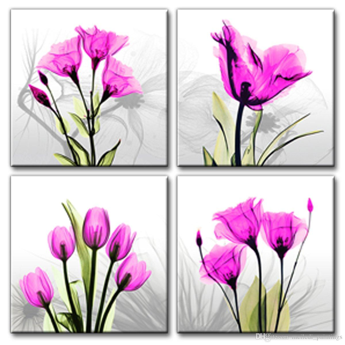 Satın Al Soyut Zarif Lale çiçekler Tuval Baskı Duvar Sanatı Boyama