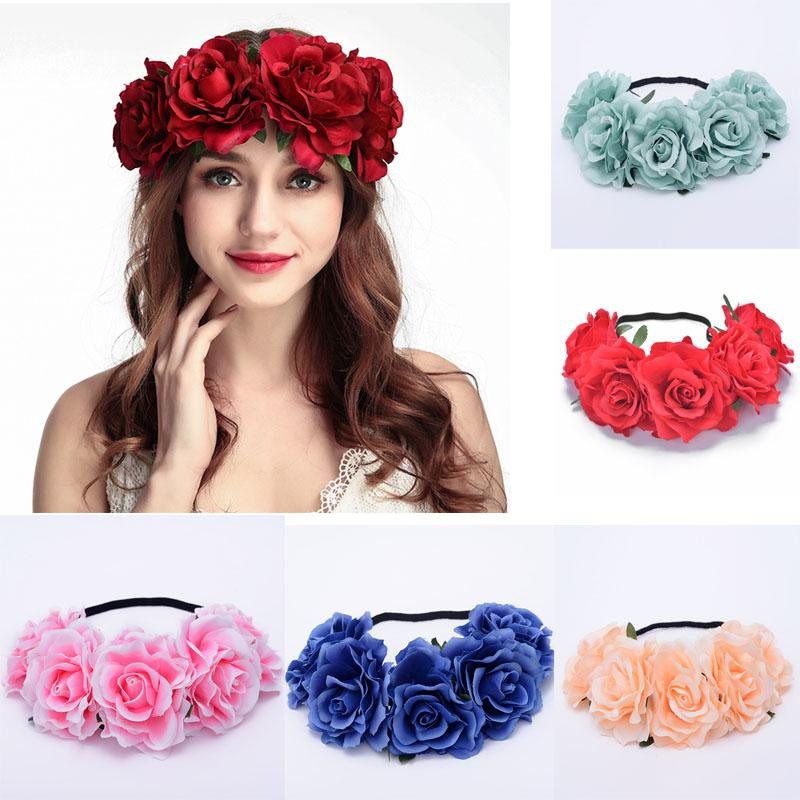 Roses Wreaths Women Charm Flower Tiara Wedding Floral Headband Hair Accessories Bridal Garland Princess Wreath Girls Crown Headdress Party