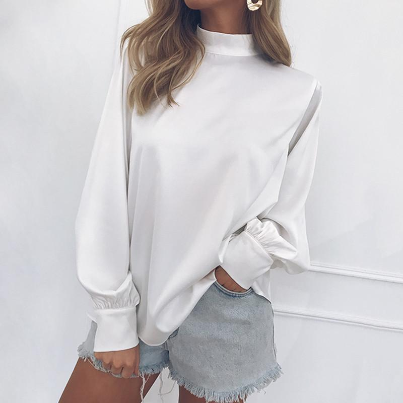 73db0bb86bb HOT Casual Solid Office Shirt Women Blouse Autumn 2019 Stand Collar ...