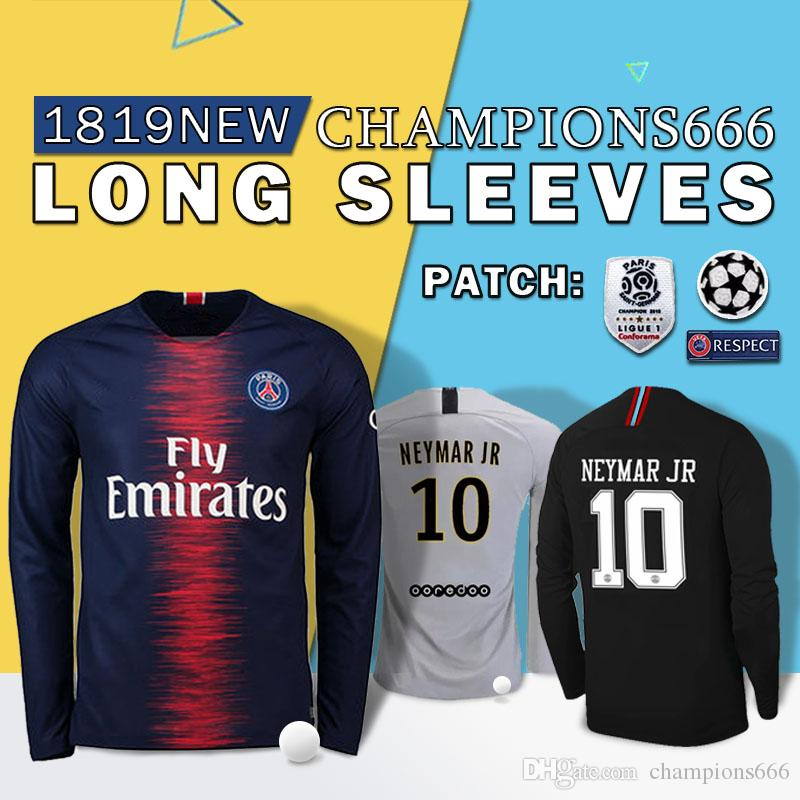 d1fbf689c03 2019 1819 PSG Third Maillot MBAPPE Soccer Jersey Long Sleeve CAVANI  VERRATTI Top Thailand 18 19 Paris Football Shirt KIMPEMBE Camiseta De  Futbol From ...