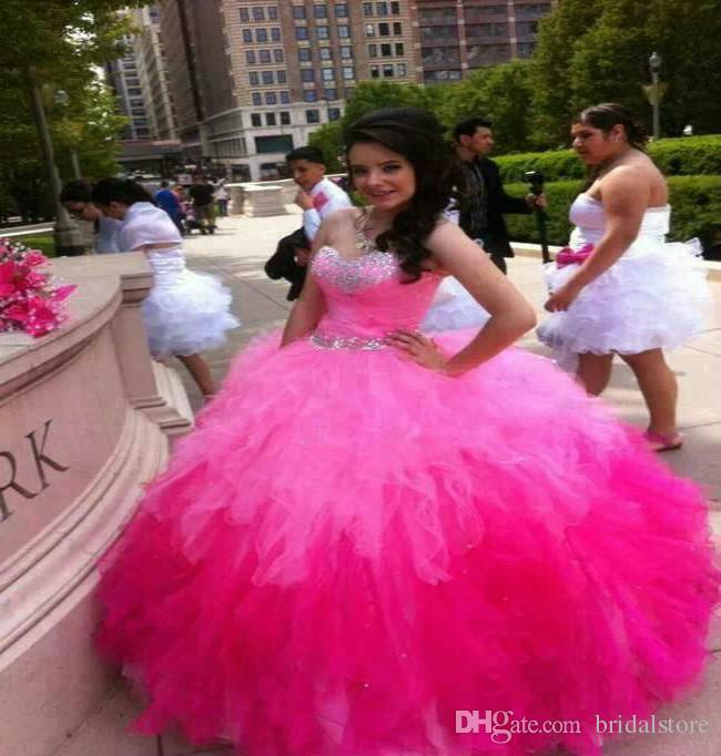f65f4a5947f Hot Pink Multi Color Quinceanera Dresses Sweetheart Top Corset Beaded Ombre  Prom Gowns Organza Ruffled Sweet 15 Dresses Evening Wear 2018 Dress For 15  Dress ...