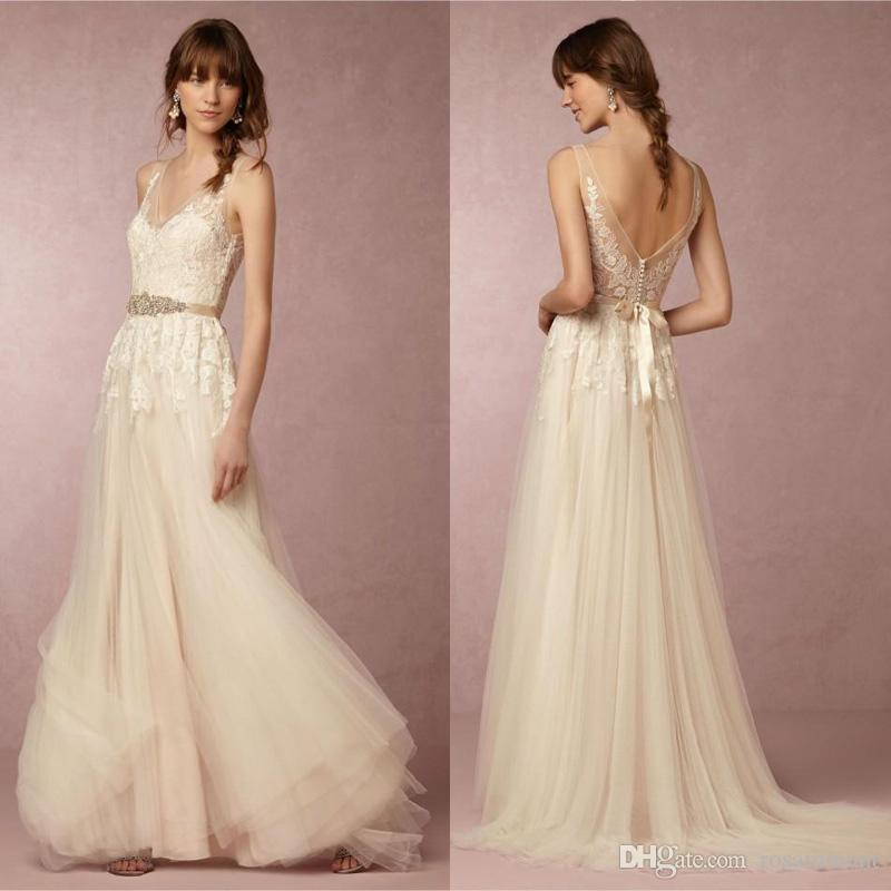 ab9201d672a Discount 2019 Lace Wedding Dresses Elegant V Neck Sleeveless Appliques Lace  Top A Line Beach Wedding Dress With Sash Custom Made Vintage Wedding Dresses  ...