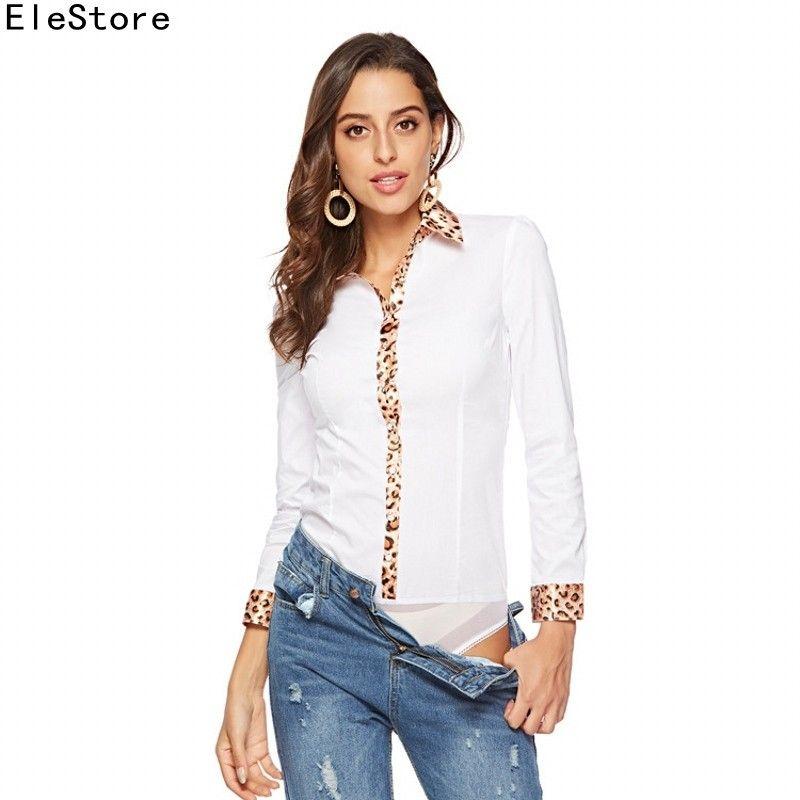 newest 54139 c6fdf Camicetta 2018 Body Camicia Donna Blusas Mujer Manica Lunga Tuta Leopard  Patchwork Camicetta Top T-shirt da donna Camicie