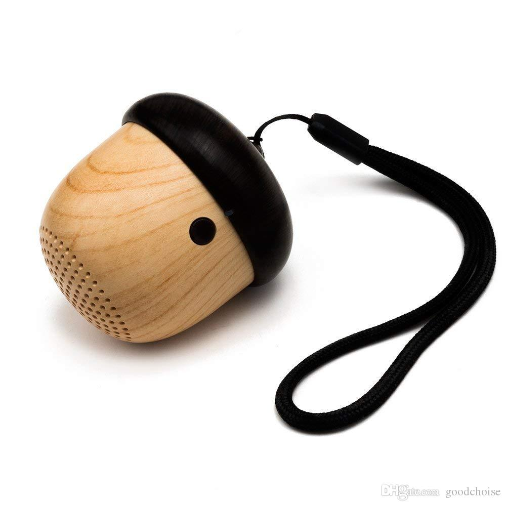 Nuts Speakers Wooden wireless bluetooth Speaker with Microphone Strap Wood Loudspeaker for iPhone Android with Reatail Package