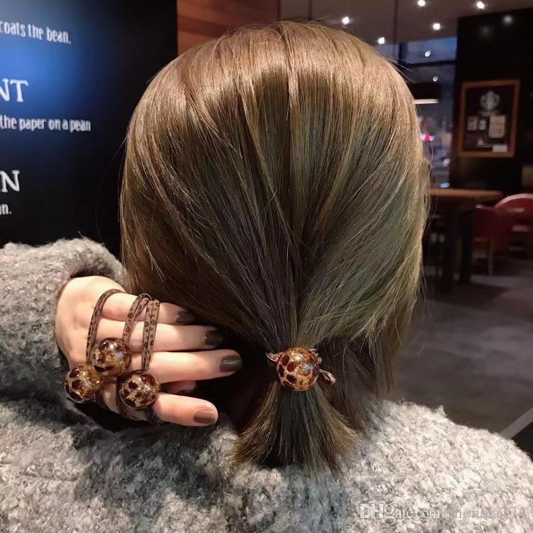Korean Girls Bun Topknot Leopard Hair Rings Ins Acrylic Ball Hairbands Leopard Design Double Elastic Hair Ribbons Women Hair Accessories