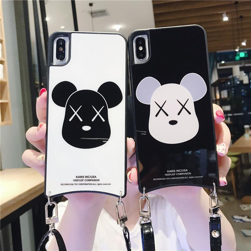 One Piece luxury iphone xr phone case luckily dog For iPhone 6 s 7 8 fashion back cover designer phone cases with lanyard
