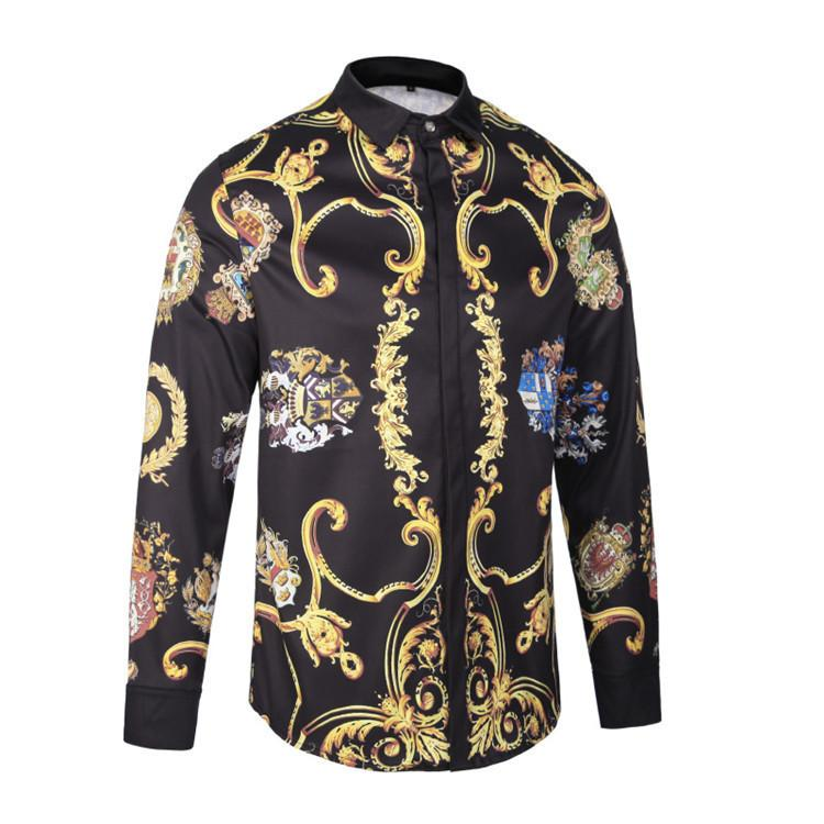 fd19d04271d New Pattern Male Style Long Sleeves Shirt Slim Youth Leisure Time ...