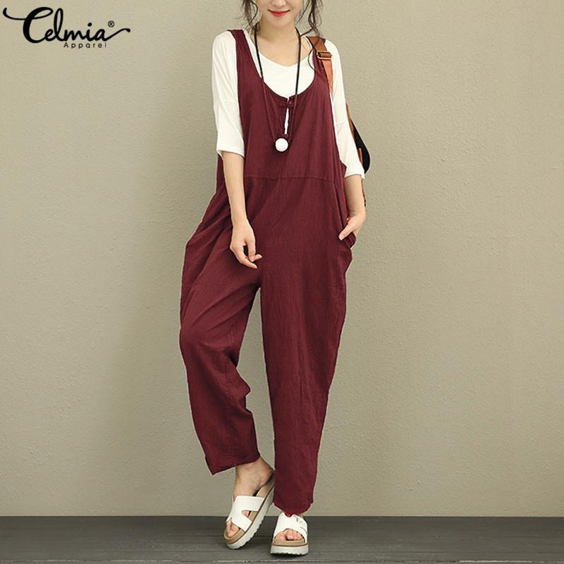 5f9de1cad7da 2019 Celmia 2019 Summer Vintage Women Jumpsuits Linen Wide Legs Pants  Rompers Casual Sleeveless Buttons Down Loose Plus Size Overalls From  Cutelove66
