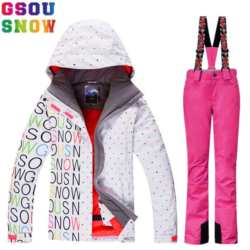 GSOU SNOW Brand Ski Suit Women Winter Ski Jacket Pants Waterproof Snowboard Jacket Pants Snow Sets Ladies Mountain Skiing Suit